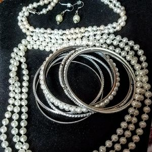Jewelry - Vintage 2strands faux Pearls,bangles,earrings